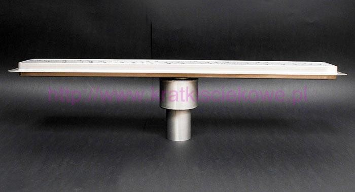 Tile insert linear shower drains with vertical outlet and 500 mm flange