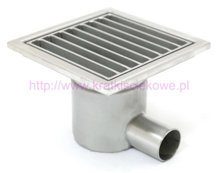 Stainless steel square floor gully 150x150 with side outlet