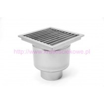 Stainless steel profi square floor gully 400x400 with vertical outlet