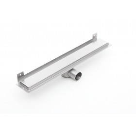 Linear stainless steel WALL shower drains with curved flange 900mm