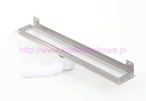 Tile insert linear WALL shower drains with curved flange 600mm