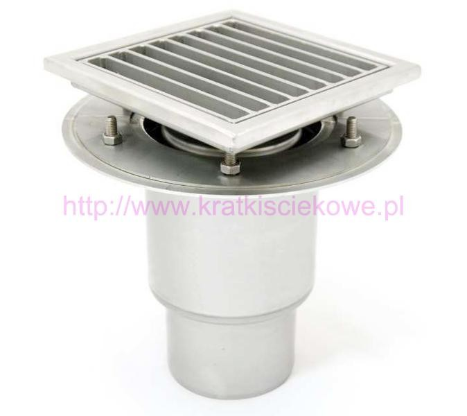 Stainless steel profi telescopic square floor gully 400x400 with vertical outlet KRD-T-400-200