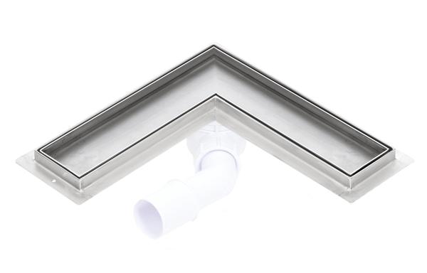 Corner stainless steel tile insert shower drains with 800mm flange