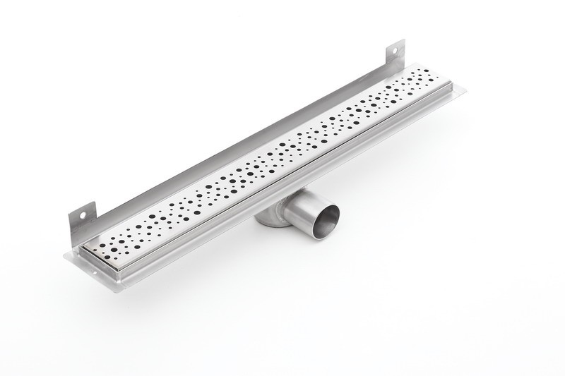 Linear stainless steel WALL shower drain with curved flange 1200mm