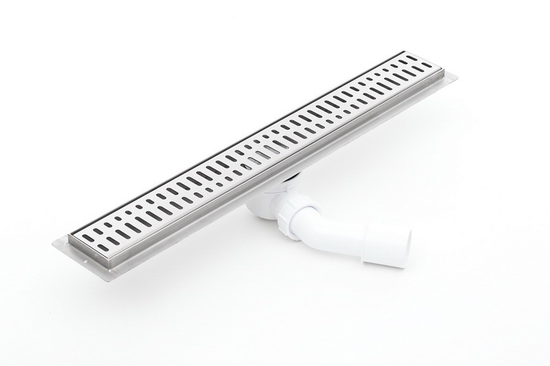 Linear  stainless steel shower drains with grate and 600mm flange