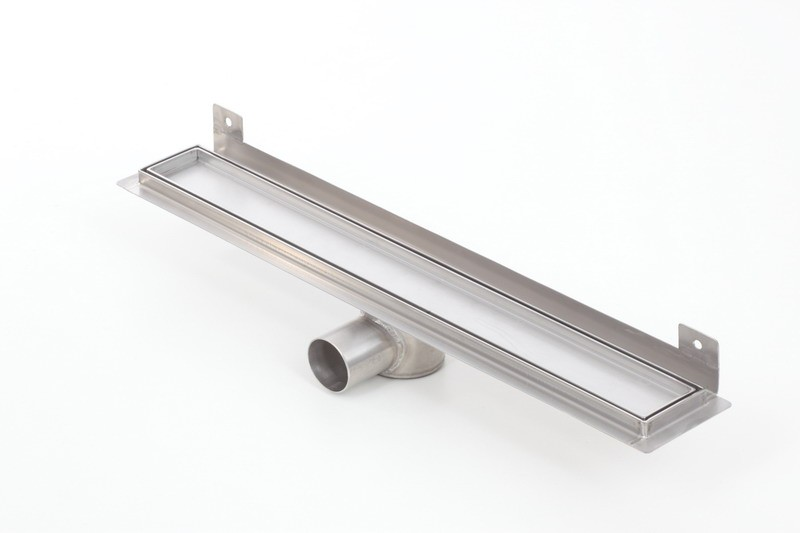 Tile insert linear WALL shower drains with curved flange 900mm