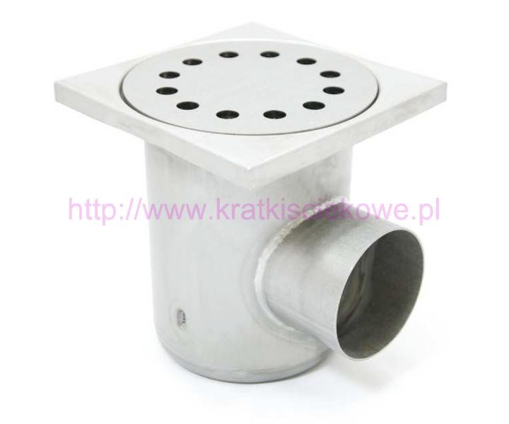 Stainless steel square floor gully 220x220 with side outlet KSBK-220-110