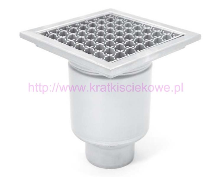 Stainless steel profi square floor gully 250x250 with vertical outlet KRD-250-110