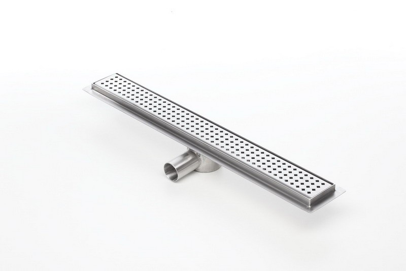 Linear stainless steel shower drains with grate and 700mm flange