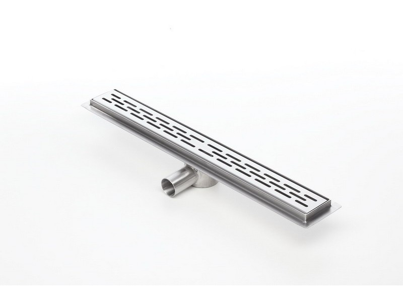 Linear stainless steel shower drain with grate and 500mm flange