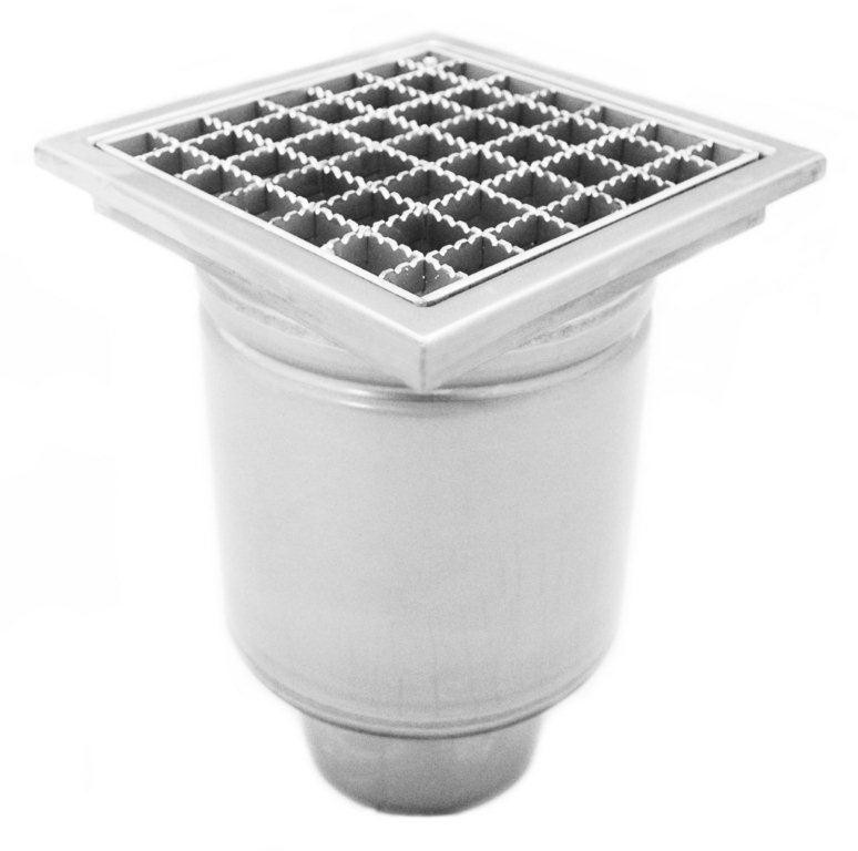 Stainless steel profi square floor gully 200x200 with vertical outlet KRD-200