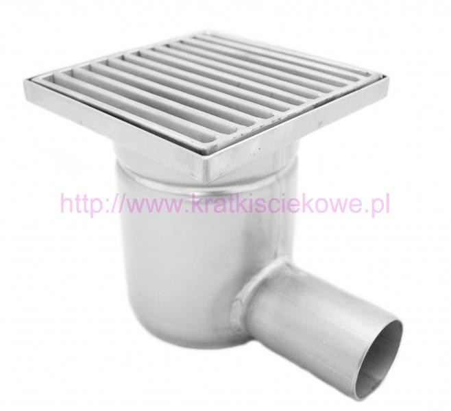 Stainless steel square floor gully 200x200 with side outlet KSB-200