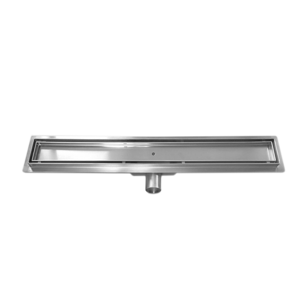 Tile insert linear shower drain with 800 mm flange
