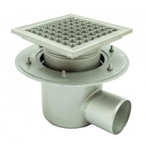 Stainless steel mini telescopic square floor gully 150x150 with side outlet KSB-T - 150